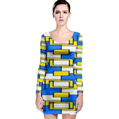 Yellow Blue White Shapes Pattern Long Sleeve Bodycon Dress by LalyLauraFLM