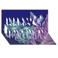 Purple, Pink Aqua Flower Style Happy Birthday 3d Greeting Card (8x4)  by Contest1918526