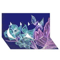 Purple, Pink Aqua Flower Style Twin Hearts 3d Greeting Card (8x4)