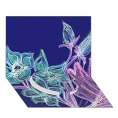 Purple, Pink Aqua Flower style Circle Bottom 3D Greeting Card (7x5)