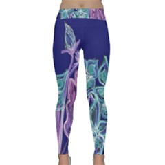 Purple, Pink Aqua Flower style Yoga Leggings by Contest1918526