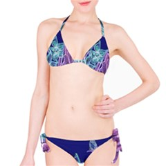 Purple, Pink Aqua Flower style Bikini Set