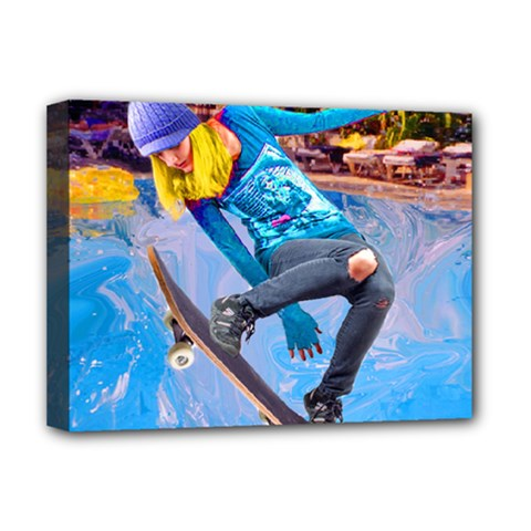 Skateboarding On Water Deluxe Canvas 16  X 12   by icarusismartdesigns