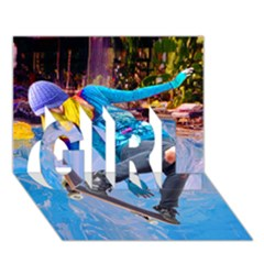 Skateboarding On Water Girl 3d Greeting Card (7x5)  by icarusismartdesigns