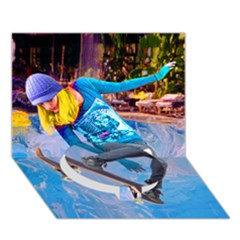 Skateboarding On Water Circle Bottom 3d Greeting Card (7x5)  by icarusismartdesigns