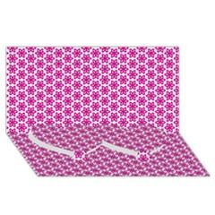 Cute Pretty Elegant Pattern Twin Heart Bottom 3d Greeting Card (8x4)  by creativemom