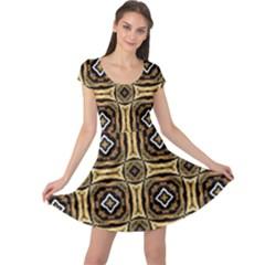 Faux Animal Print Pattern Cap Sleeve Dresses