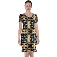 Faux Animal Print Pattern Short Sleeve Nightdresses