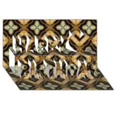 Faux Animal Print Pattern Happy Birthday 3d Greeting Card (8x4)  by creativemom