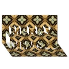 Faux Animal Print Pattern Merry Xmas 3d Greeting Card (8x4)
