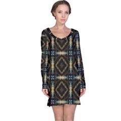 Faux Animal Print Pattern Long Sleeve Nightdresses by creativemom