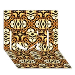 Faux Animal Print Pattern I Love You 3d Greeting Card (7x5)  by creativemom