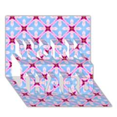 Cute Pretty Elegant Pattern WORK HARD 3D Greeting Card (7x5)  by creativemom