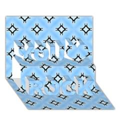Cute Pretty Elegant Pattern You Rock 3d Greeting Card (7x5)  by creativemom
