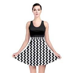 Black and White Chevron Reversible Skater Dress