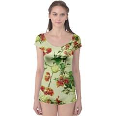 Vintage Style Floral Print Short Sleeve Leotard by dflcprintsclothing