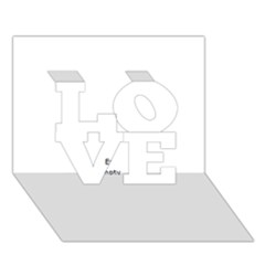 Black And White Wavy Mosaic Love 3d Greeting Card (7x5)  by NaturalDesign