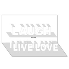 Black And White Wavy Mosaic Laugh Live Love 3d Greeting Card (8x4)  by NaturalDesign