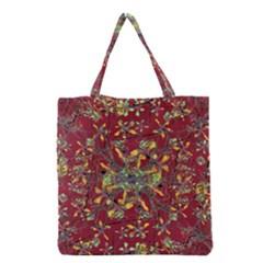 Oriental Floral Print Grocery Tote Bags