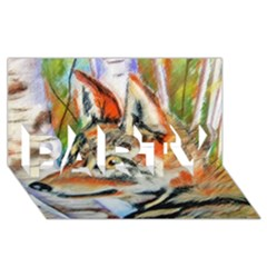 Wolfpastel Party 3d Greeting Card (8x4)
