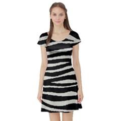 Black White Tiger  Short Sleeve Skater Dress by OCDesignss
