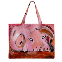 Piggy No 3 Zipper Tiny Tote Bags by timelessartoncanvas
