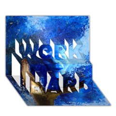 Blue Mask Work Hard 3d Greeting Card (7x5)  by timelessartoncanvas