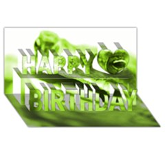 Green Frog Happy Birthday 3d Greeting Card (8x4)  by timelessartoncanvas