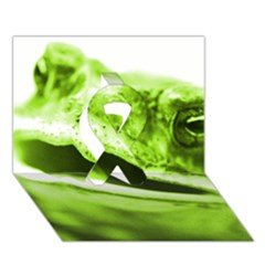 Green Frog Ribbon 3d Greeting Card (7x5)  by timelessartoncanvas