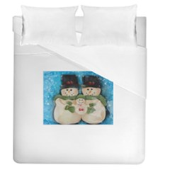 Snowman Family Duvet Cover Single Side (full/queen Size) by timelessartoncanvas