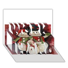 Snowman Family No  2 Work Hard 3d Greeting Card (7x5)  by timelessartoncanvas