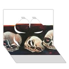 Halloween Skulls No  2 Clover 3d Greeting Card (7x5)
