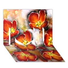 Fall Flowers I Love You 3d Greeting Card (7x5)  by timelessartoncanvas