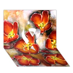 Fall Flowers Ribbon 3d Greeting Card (7x5)  by timelessartoncanvas