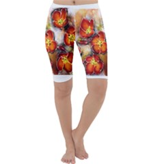 Fall Flowers Cropped Leggings by timelessartoncanvas