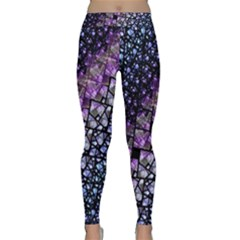 Dusk Blue and Purple Fractal Yoga Leggings