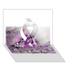 Shades Of Purple Ribbon 3d Greeting Card (7x5)  by timelessartoncanvas