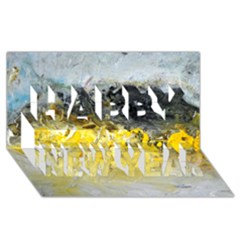 Bright Yellow Abstract Happy New Year 3d Greeting Card (8x4)  by timelessartoncanvas