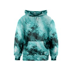 Turquoise Abstract Kids Zipper Hoodies