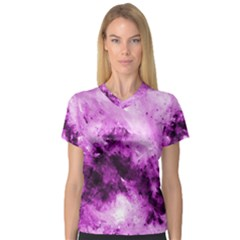 Bright Pink Abstract Women s V Neck Sport Mesh Tee by timelessartoncanvas