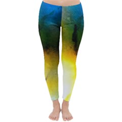 Watercolor Abstract Winter Leggings