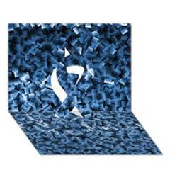 Blue Cubes Ribbon 3d Greeting Card (7x5)  by timelessartoncanvas