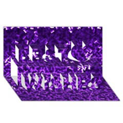 Purple Cubes Best Wish 3d Greeting Card (8x4)  by timelessartoncanvas