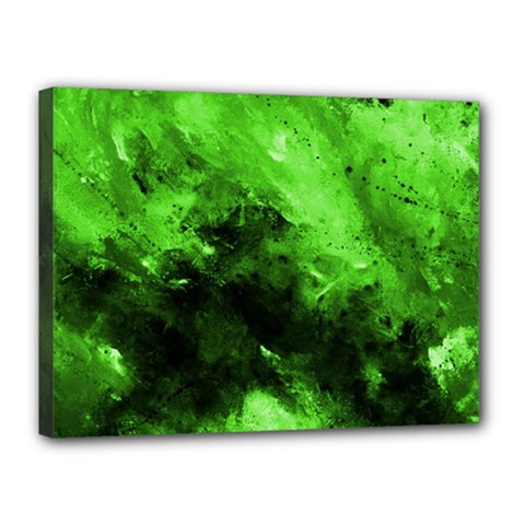 Bright Green Abstract Canvas 16  X 12  by timelessartoncanvas