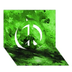 Bright Green Abstract Peace Sign 3d Greeting Card (7x5)  by timelessartoncanvas