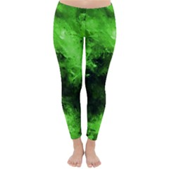 Bright Green Abstract Winter Leggings by timelessartoncanvas