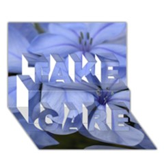 Bright Blue Flowers Take Care 3d Greeting Card (7x5)  by timelessartoncanvas