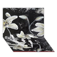 Black And White Lilies Love Bottom 3d Greeting Card (7x5)  by timelessartoncanvas
