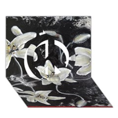 Black And White Lilies Peace Sign 3d Greeting Card (7x5)  by timelessartoncanvas