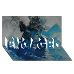 Blue Abstract Engaged 3d Greeting Card (8x4)